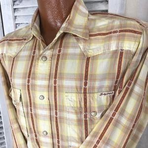 Lucky Brand men's MED snap front western shirt